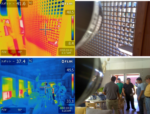 Thermal photos for the shading panel and for the internal environment